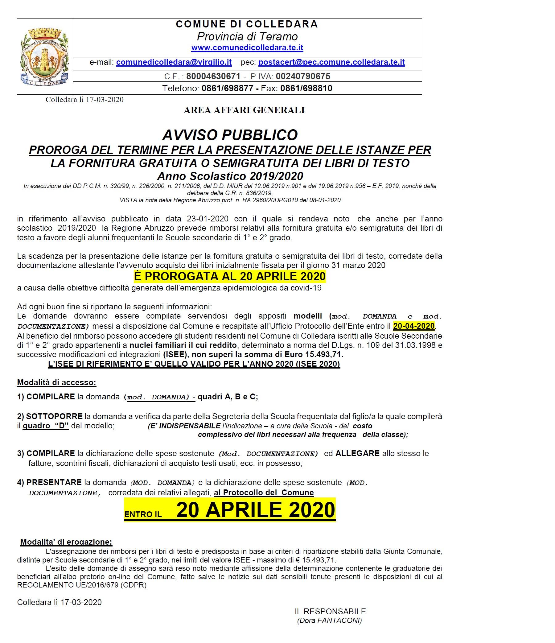 AVVISO PROROGA TERMINI SCADENZA BANDO PACCO ALIMENTARE