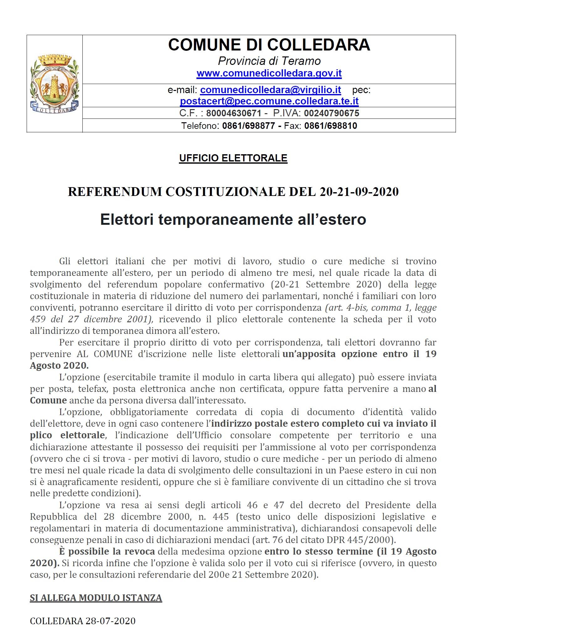REFERENDUM COSTITUZIONALE AVVISO PER ELETTORI TEMPORANEAMENTE ALL'ESTERO