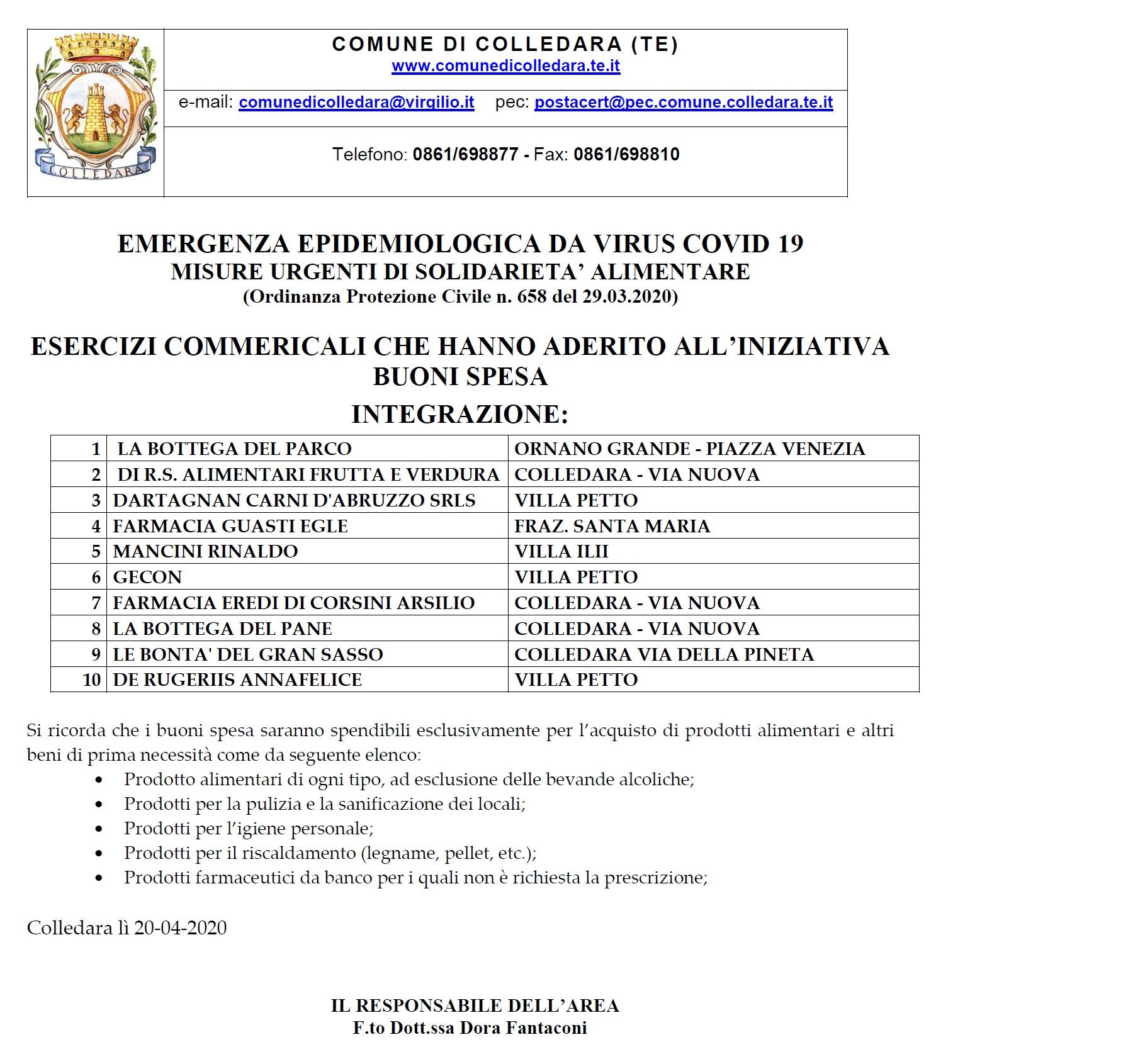 AVVISO PUBBLICO INTEGRAZIONE ELENCO ESERCIZI COMMERCIALI ADERENTI ALL'INIZIATIVA BUONI SPESA