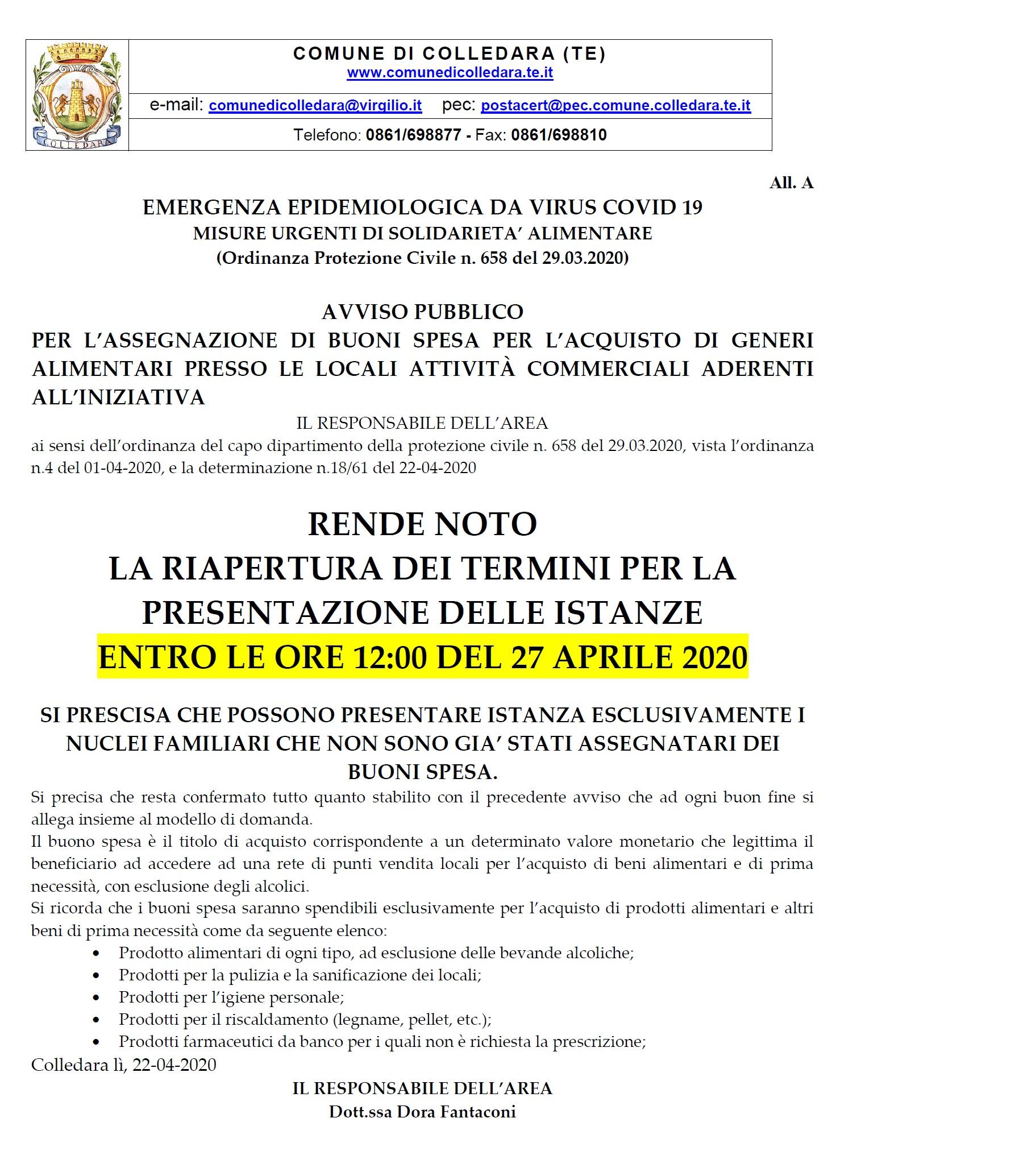 AVVISO PUBBLICO: BUONI SPESA EMERGENZA COVID 19 - RIAPERTURA TERMINI PRESENTAZIONE ISTANZE